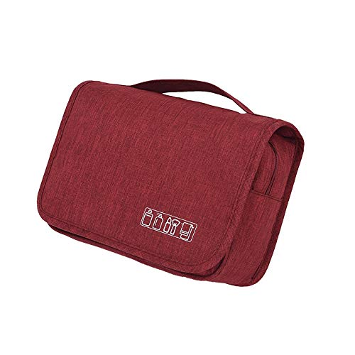 Cuasting Wine Red Hanging Travel Big Cosmetic Toiletry Bag Women Men Necessary Make Up Beauty Vanity Cases Organizer Accessory Storage Wash Pouch