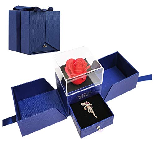 Regalos para San Valentin, Migaven Rosa Eterna, Flower Jewelry Caja de Regalo con Broche de Diamantes de Imitación Tarjeta de Felicitación para Mujer Su Novia Aniversario San Valentín Azul