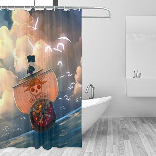 HAOHAODE Strohhut Piraten Duschvorhang wasserdicht & lustig Badezimmer Dekoration 60 x 72 in 12er Pack Kunststoffhaken