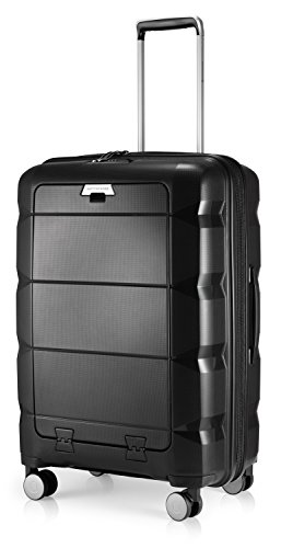 HAUPTSTADTKOFFER - Britz- Luggage Suitcase with Laptop Compartment Hard Shell Spinner Trolley 4 Wheel Case, TSA, 66 cm, 60 Liter, Black