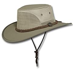 """Premium Durable Poly Cotton Canvas - comes with FREE Hat Sizing Kit Air Flow Through Mesh Sides - Wide Brim Chin Cord - Sun Protection Liner at Front Water Resistant - 50+ UV Protection - Lightweight Brim: Side 3"""" - Front 3"""" - Back 3"""" - Crown: Height..."""