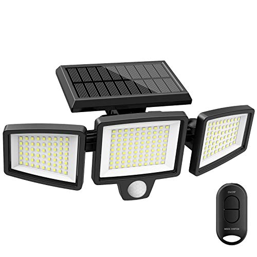Solar Lights Outdoor,ATUPEN 210 LED 1500LM Motion Sensor Lights with Remote Control, 3 Heads Security LED Flood Light, IP65 Waterproof, 270° Wide Angle Illumination Wall Light with 3 Modes(1 Packs)