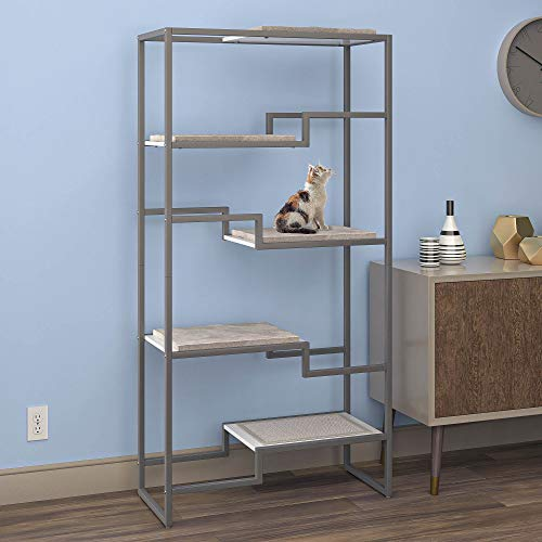 THE REFINED FELINE Metropolitan Cat Condo, Modern Furniture for Multiple Cats, Stepped Platforms for Cats and Kittens