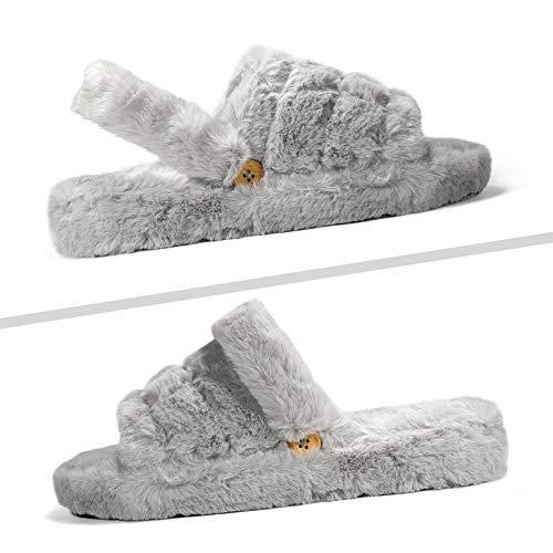 SEVEGO Flauschige Pelzige Hausschuhe, Weich, Warmhaltend Und Bequem Flache Sohle Mit Gummiband, Offene Zehe SPA Schlafzimmer In- und Outdoor Sandale