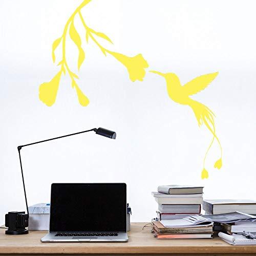 ASFGA Wandaufkleber Blumenvogel Aufkleber Nektar Wandaufkleber Vinyl Kunst Tier schmücken Kinderzimmer für Familie Wohnzimmer und Hotel 57x57cm