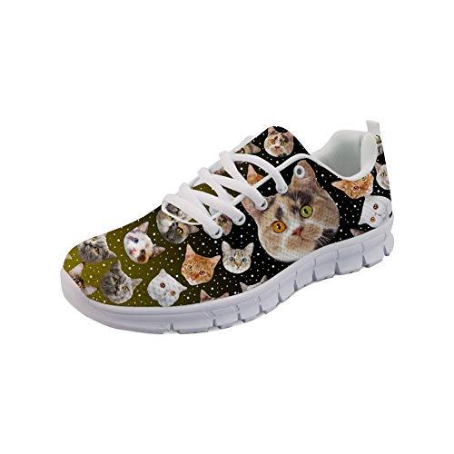 Coloranimal Galaxy Space Kawaii 3D Katzenkopf Puzzle Laufen Walking Flats für Teenager Mädchen Jungen Unisex Air Mesh Leichtes Fitnessstudio Sport Jogging Schnür-Sneaker EU Größe 38