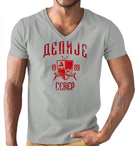 Delije Red Star Crvena Zvezda Beograd Sever Srbija T-Shirt Herren V-Neck Herrenshirt, Größe:M, Farbe:Graumeliert (Grey Melange L151)