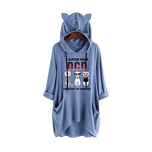 TJCJIEM Sudadera con Capucha con Impresión de Dibujos Animados de Gato para Mujer Chica Adolescente - Suelto Jerséis Manga Larga Pijama Casual Tops Jersey Ropa Casual