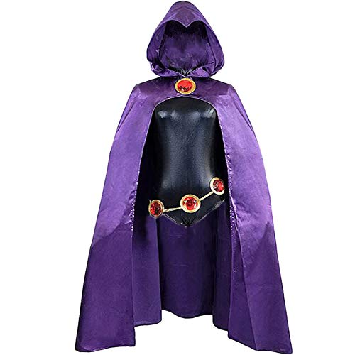Fanstyle Halloween Cospaly Costume Teen Titans Raven Women's Costume Cloak Jumpsuit Black for kids
