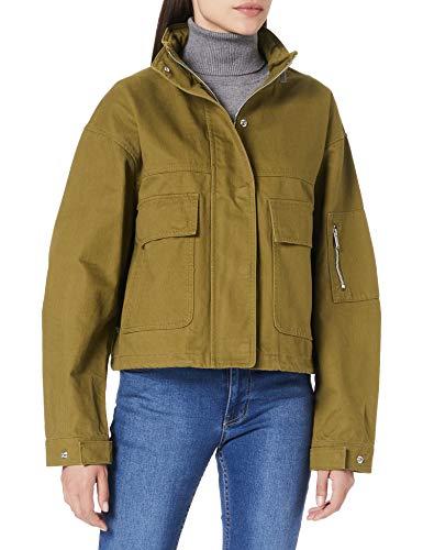 Superdry Bora Cropped Jacket, Caqui, XXS para Mujer