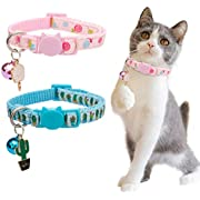 BANMODER Cat Collar Breakaway with Bell,2 Pack Safety Adjustable Cat Collars Set,Candy & Cactus