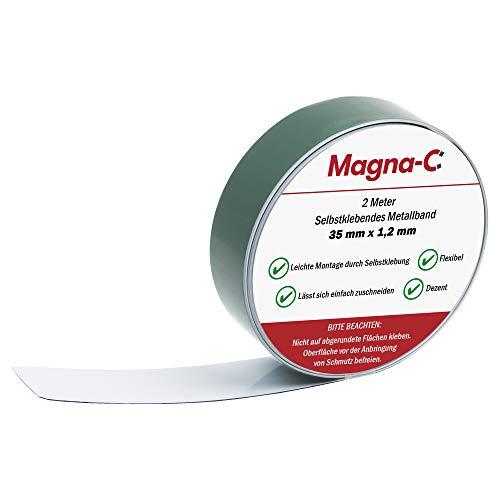 Selbstklebendes Metallband – weiß – Untergrund für Magnete – flexibel und leicht zuschneidbar – 2m x 35mm x 1,2mm – von Magna-C