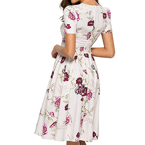 iYmitz Damen Abendkleid mit Blumen Muster Kurzarm Beiläufig Rundausschnitt Minikleid Elegantes A-Linie Vintage Frauen Kleider