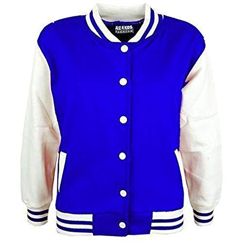 A2Z 4 Kids Kinder Mädchen Jungen BASEBALL - B.B Plain Jacket Royal Blue 7-8