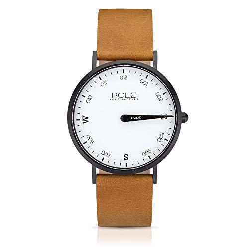 Pole Watches Reloj de Pulsera Analógico Monoaguja de Cuarzo para Hombre Esfera Blanca y Correa de Cuero Mostaza Modelo Compass Snowy B-1002BL-NE02