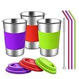 Copas de acero inoxidable con tapas, mangas y pajitas de silicona | Paquete de 3 16 oz. Copas de vasos de bebida para niños pequeños, niños y adultos | Ecológico | Sin BPA (Paja de silicona)