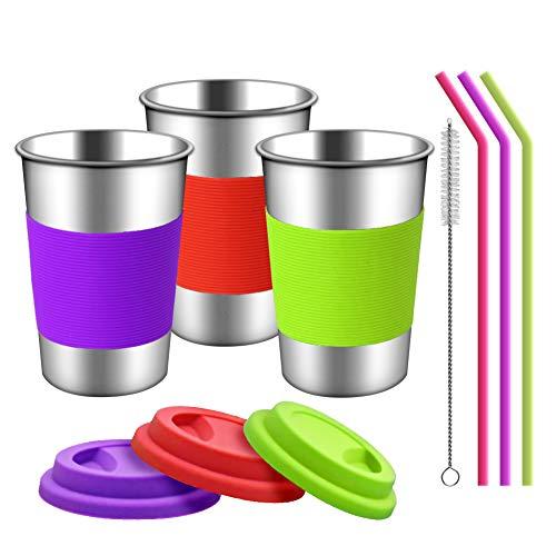 Edelstahlbecher mit Silikondeckeln, Hülsen und Strohhalmen | 3 Pack 16 Unzen Trinkbecher für Kleinkinder, Kinder und Erwachsene Umweltfreundlich | BPA-frei (Silikon-Strohhalme)