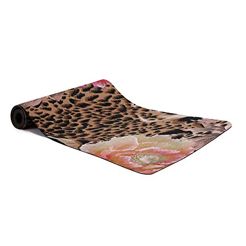 wanxinfu Yoga Mat, Non Slip Eco Friendly Exercise Mat Pink Floral Leopard Skin Texture - High Density Pilates Mat with Carrying Strap for Floor Workout, Fitness & Hot Yoga 72