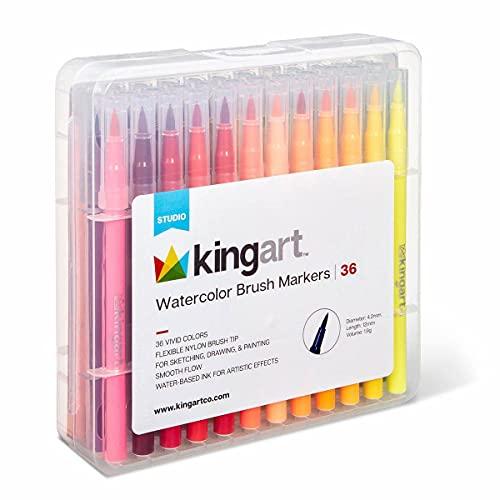 KingArt Studio Tip Watercolor Brush Markers, Set of 36, Unique Colors