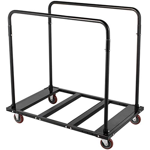 "Happybuy Folding Table Cart Black Table Rack for 60"" Round Tables Folding Table Storage Rack Heavy Duty Table Trolley Black Desk Trolley Steel Frame Rolling Casters Party Event Hotel Furniture"