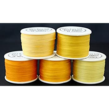 5 Spools 100/% Pure Embroidery Silk Ribbon 4mm x 55 yards Yellow Tones Embroidery