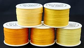5 Spools 100% Pure Embroidery Silk Ribbon 4mm x 55 yards Yellow Tones Embroidery Silk Ribbon Embroidery Supplies/Kits