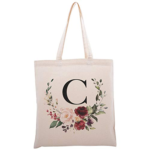 Personalized Floral Initial Cotton Canvas Tote Bag for Events Bachelorette Party Baby Shower Bridal Shower Bridesmaid Christmas Gift Bag | Daily Use | Totes for Yoga, Pilates, Gym, Workout | #2 - C