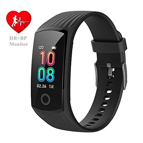 V16 Fitness Heart Rate Monitor Activity Tracker Smart Watch Health Smartwatch with Blood Pressure Sleep Tracker / Period Reminder / Steps Calories Pedometer Sports Watch Waterproof Color Screen (BLK)