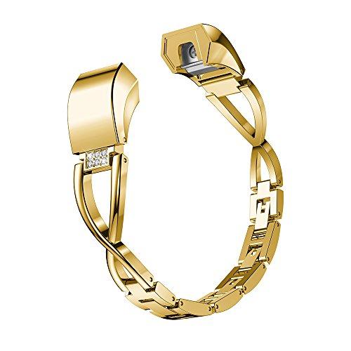Gimartuk Ersatz-Armband für Fitbit Alta HR und Alta Bands Small Large, Schmuck Metall Ersatz Band Zubehör Armband Armreif Armreif Armband Rotgold Silber Gold Schwarz, damen, gold, 5.5-7.8 inch