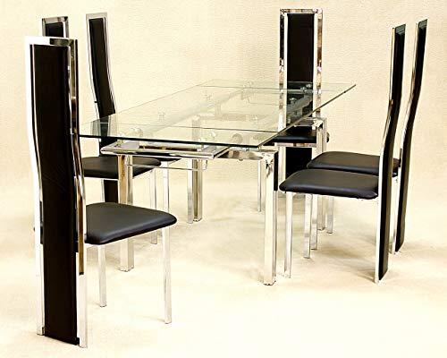 Coazze Mesa de comedor extensible de cristal, 6 sillas Troia, color negro