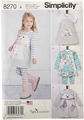Simplicity 8270 Toddler s Dress Tunic and Leggings Sewing Patterns by Ruby Jean Sizes 1 2 4 product image