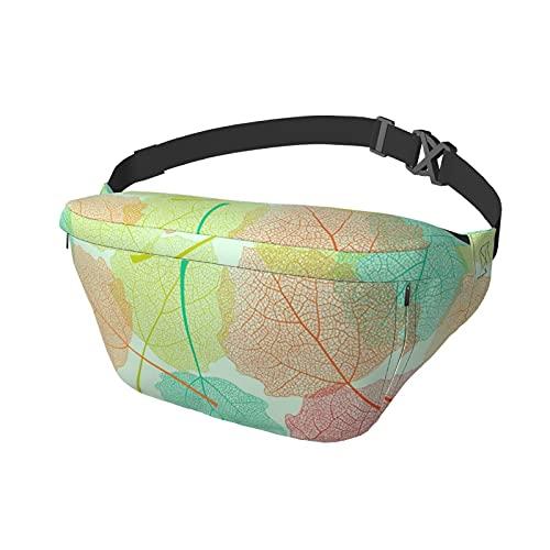Sport-Brusttasche Sling Bag Crossbody Schulterrucksack Pastell Trockene Blätter Skelett Overlay Mode Trend Taille Tagesrucksack für Reisen Gym Sport Wandern Radfahren für Männer Frauen