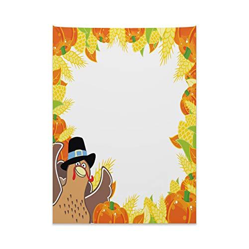 ABAKUHAUS Kinder Thanksgiving Wandteppich & Tagesdecke, Mais & Kürbis, aus Weiches Mikrofaser Stoff Kein Verblassen Klare Farben Waschbar, 110 x 150 cm, Mehrfarbig