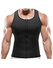 NOVECASA Sauna Vest Gewichtsverlies Heren Neopreen met Rits Spier Shirt Kostuums Fitness Tank Top Shapewear Shirt Afslankend Onderhemd Heren (Xl (Taille 94-100cm), Zwart)