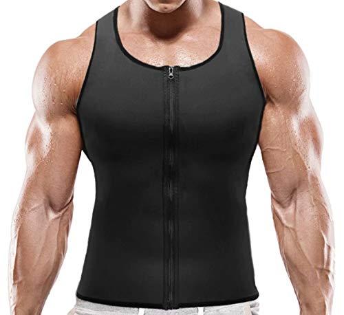 NOVECASA Sauna Weste Gewichtsverlust Herren Neopren mit Reißverschluss Muskelshirt Kostüme Fitness Tank Top Shapewear Hemd Abnehmen Unterhemd Männer (M(Taille 84-89CM), Schwarz)
