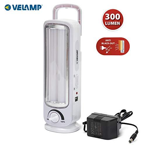 Velamp Twix Lampada di Emergenza Anti Black-out 2 Tubi LED, 300lm, dimmerabile. 23cm, Grigio