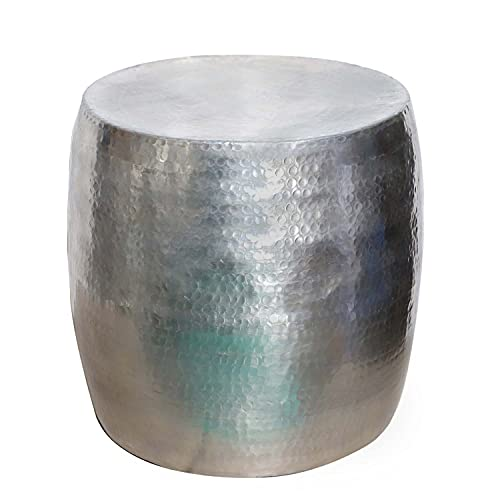 Casa Moro   Sgabello orientale Kinza argento in alluminio effetto martellato, moderno tavolino da salotto vintage