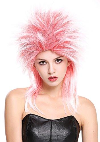 WIG ME UP ® - 90891-ZA13TZA60 Peluca Mujer Hombre Carnaval Halloween años 80 Punk Wave mójol Pelo de Punta Mezcla Rojo Blanco