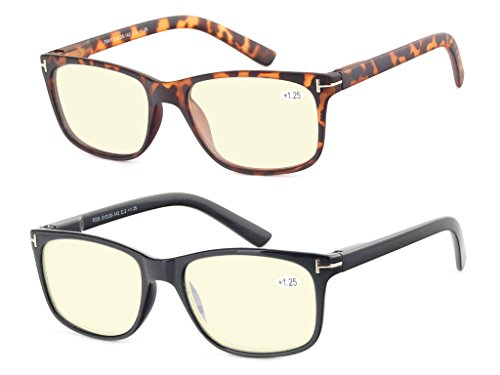 Computer Glasses Set of 2 Anti Glare Anti Reflection Stylish Comfortable Spring Hinge Frames for Men and Women +2