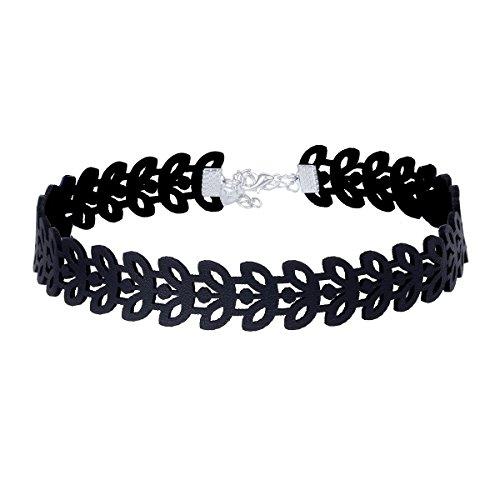 Elegant Rose - Juego de choquers, 24unidades, set de collares góticos, tattoo, picos, cadenas estrechas, terciopelo, clásico, color negro