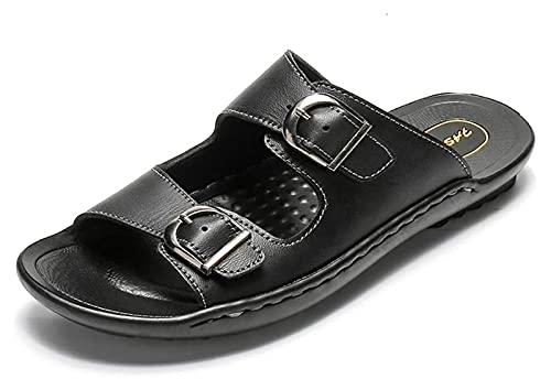 Wzqwzj Zapatillas de verano Sandalias de cuero para hombre, sandalias planas para interiores y exteriores, zapatos de playa, zapatillas de baño (color: negro puro, tamaño: 39)