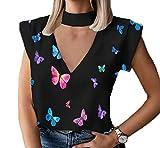 Camiseta de Verano con Estampado de Mariposa Casual con Cuello en V ahuecada Camiseta de Manga Corta Slim Fit tee Tops Blusas