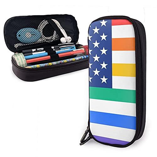 Rainbow United States America Flag Estuche para lápices de cuero, gran capacidad, estuche para bolígrafos, estuche para lápices, almacenamiento, maquillaje, estuche de cosméticos