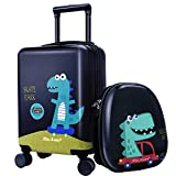 iPlay, iLearn Dinosaur Kids Luggage, Boys Carry on Suitcase, Hard Shell Travel Luggage Set W/ Backpack, Trolley Luggage W/ 4 Spinner Wheel for Children Toddlers