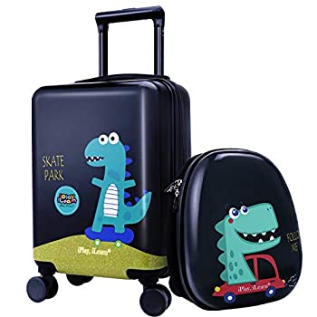 iPlay iLearn Dinosaur Kids Luggage Boys Carry on Suitcase Hard Shell Travel Luggage Set W/ Backpack Trolley Luggage W/ 4 Spinner Wheel for Children Toddlers