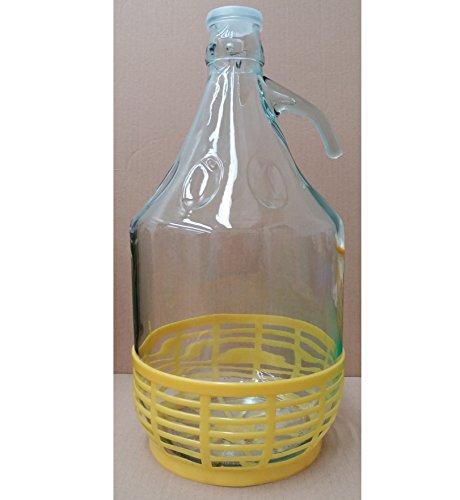 Dama damigiana fiasco vetro 5 litri tappo pressione cesta in plastica