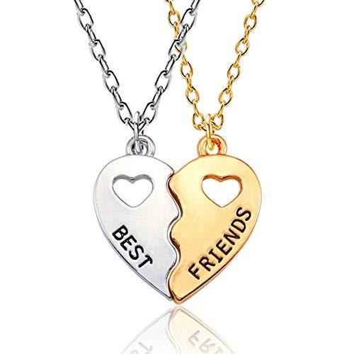 jovivi friends necklace for 2 silvers SIVITE Best Friends Necklace 2 Pieces Gold & Silver Split Heart Pendant Necklace BFF Friendship Necklace