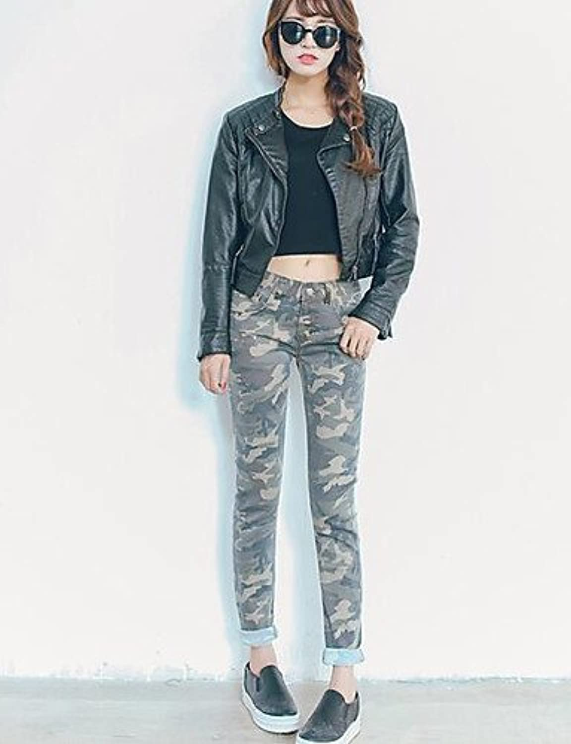 Women's Mid Rise Stretchy Jeans Pants,Simple Skinny Camouflage