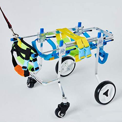 Silla de ruedas para perros ajustable 4 ruedas ajustable de acero inoxidable...