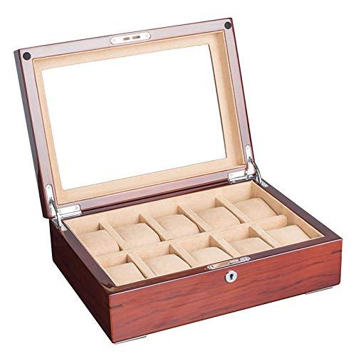 XXCHUIJU Watch Box Organizer 10 Slots, Brown Wood Watch Mostrar Caja de Almacenamiento para Hombres Mujeres, Soporte de Reloj de Vidrio Grande con Cerradura y Llaves, bisagra de Metal